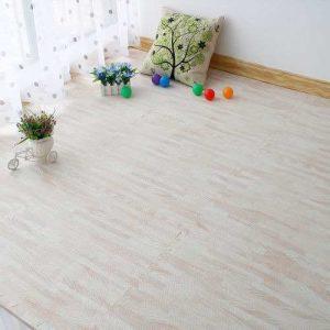 Alfombra goma eva similar madera 60×60, 10mm, marfil