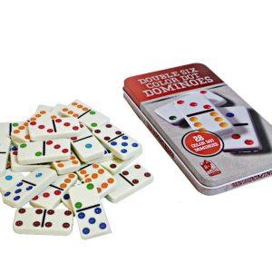 Juego domino en caja metálica multicolor 28pcs
