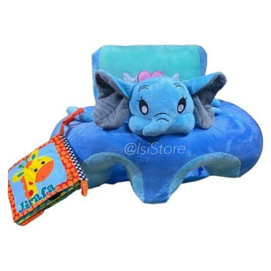Cojín apoyo para bebé con libro de tela, diseño elefante
