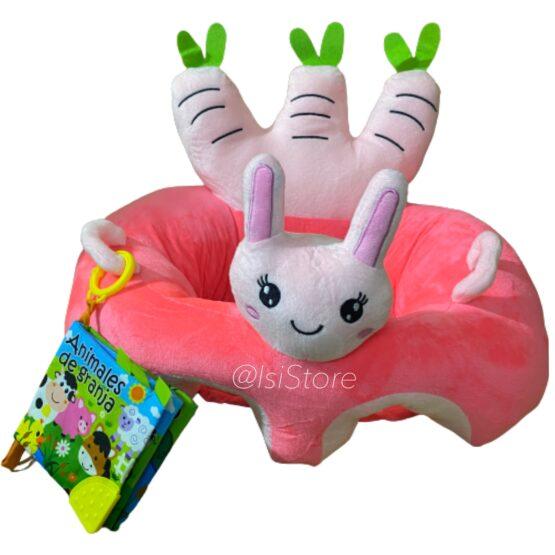 Cojín apoyo para bebé con libro de tela, diseño conejo